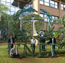 Photo of the Global Voices delegation at the UNEP Headquarters in Nairobi - with Claire Bennett Lana Groves Phoebe Shiu and Nick Metherall in Nairobi Kenya
