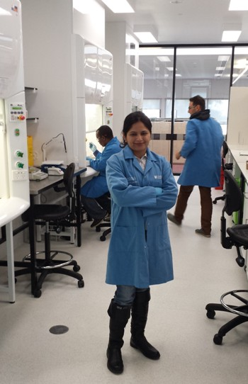 PhD student Ms Saira Hussain in the National Life Sciences Hub at CSU