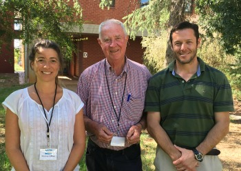 CSU Emeritus Professor Ted Wolfe (centre) and beef producers Marian Hafford and Alejandro Perez