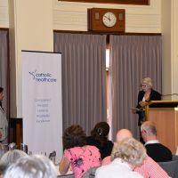 Professor Elizabeth MackInay thanks Kalyani Mehta for her Keynote address. Photograph by Sarah Stitt