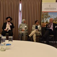 Rabbi Shmueli Feldman speaking at the Interfaith Panel  discussion on the conference theme 'Changing Cultures of Ageing and Spirituality'. Photograph by Sarah Stitt
