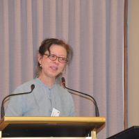 Margaret Trey presents her paper. Photograph by Sarah Stitt