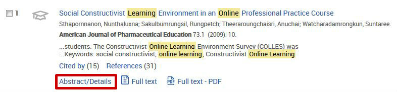 screen sample of the ProQuest website with the 'Abstract/Details' link highlighted