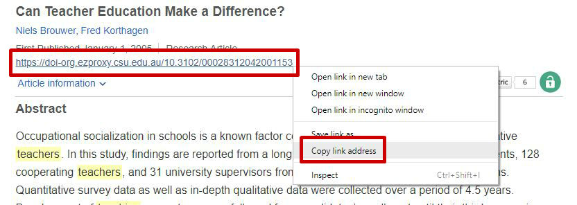 screen sample of the SAGE website with the 'Cite' link highlighted