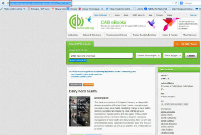 screen sample of the CAB website with the address bar URL highlighted