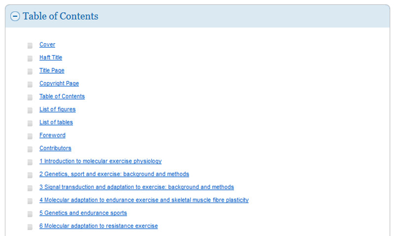 screen sample of the EBSCOhost website displaying the table of contents
