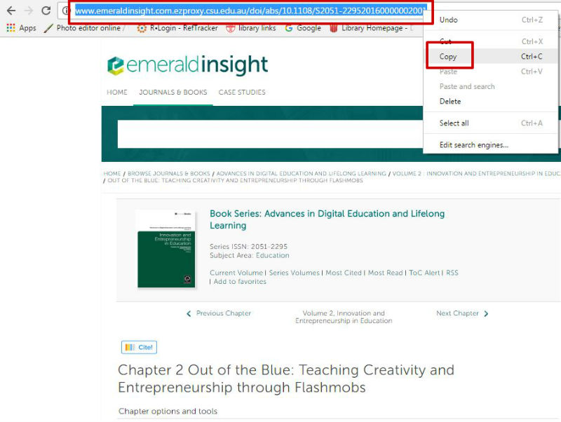 Screen sample of the Emerald eBooks website with the 'Copy link location' link highlighted, visible with right click of mouse on the 'DOI' link