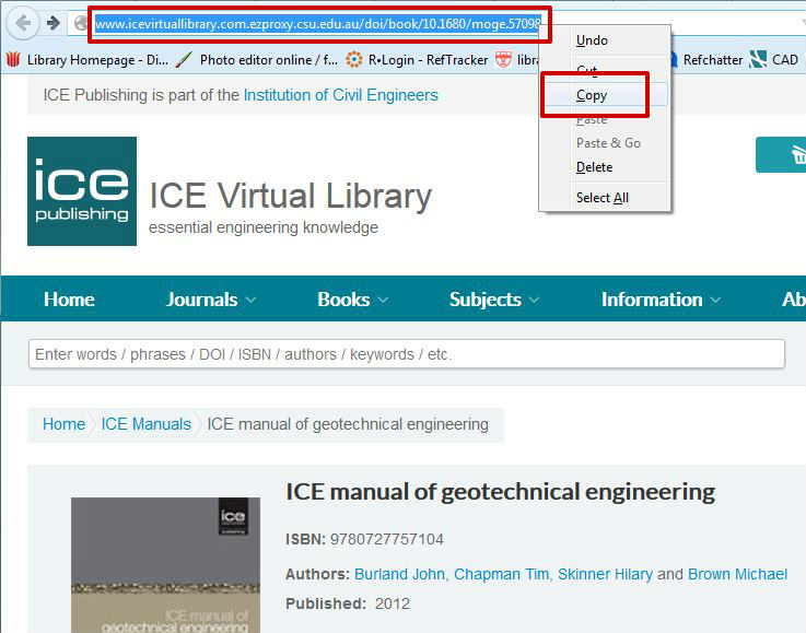 screen sample of the ICE website with the address bar URL highlighted
