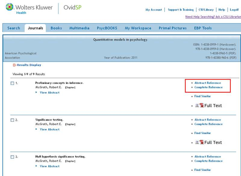 screen sample of the PsycBOOKS website with the 'Abstract Reference' and 'Complete Reference' links highlighted