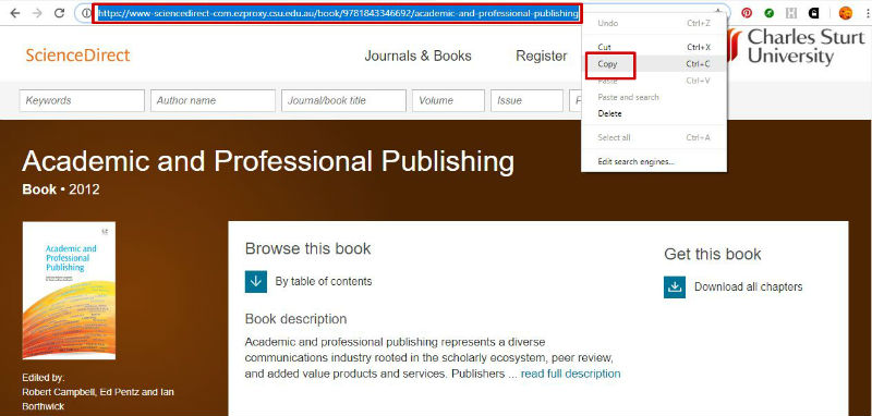 screen sample of the ScienceDirect website with the address bar URL highlighted