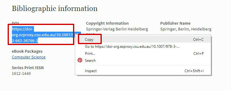 screen sample of the Springer website with DOI highlighted