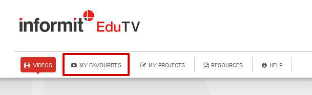screen sample of the Informit EduTV website with the 'My Favourites' tab highlighted