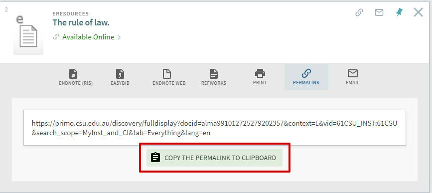 screen sample of eReserve permalink URL highlighted
