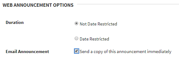 Screen sample showing the checkbox under options to send a copy immediately.