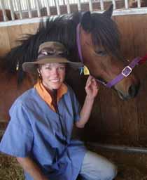 PhD student Ms Kellie Tinworth at CSU Equine Centre.
