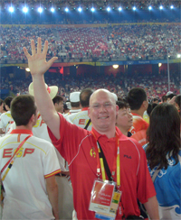 CSU's Dr Stephen Bird at the closing ceremony of the 2008 Beijing Olympic Games.