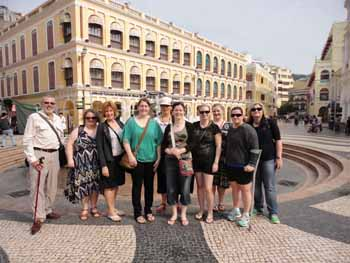 CSU psychology students and their lecturer Associate Professor Graham Tyson in Macau in 2012.