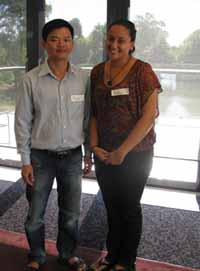 CSU students Mr Tuan Dang from Vietnam and Ms Leilani David from Fiji.