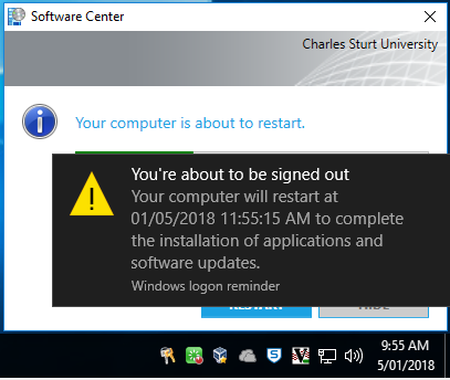 Screenshot of prompt warning that the user is about to be signed out and advising the date and time that the computer will restart
