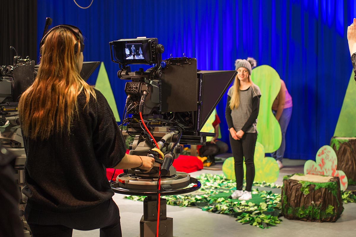 Gain hands-on experience in television production with our full-scale professional studio.