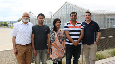 Dr Ata ur Rehman, CSU, Abdul Manan, Israr Hussain, and Tehreem Javaid project officer in Pakistan, and Professor Chris Blanchard CSU.