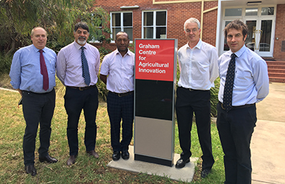 Professor Glenn Edwards and Professor David Falepau (CSU), Governor of the Jiwaka Province in Papua New Guinea (PNG), the Hon. William Tongamp, Mr John Cullen Department of Foreign Affairs and Trade and Graham Centre Director Professor Michael Friend.
