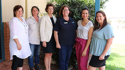 Pictured at the recent 'Practice change in the new environment' symposium are representatives from our farming systems group partners, Cindy Cassidy- FarmLink Research, Kylie Durrant Holbrook Landcare, Diana Fear CWFS, Fiona Hart Riverine Plains, Associate Professor Marta Hernandez-Jover Graham Centre and Stephanie Chappell Southern Growers Inc.