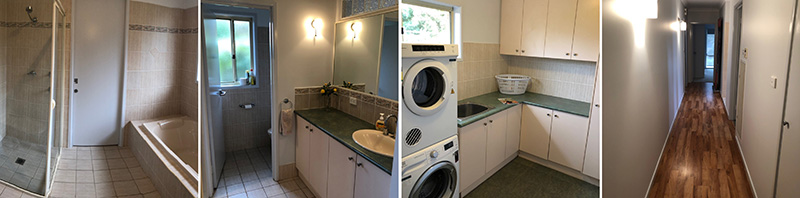 Composite of the bathroom and laundry facilities