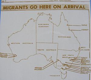 Australian location map of migrants