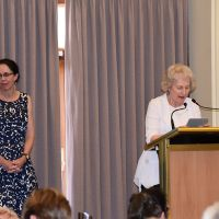 "Associate Professor Anne Harrington introduces Dr Robyn Wrigley-Carr's keynote address: ""Corporate Worship for People with Dementia: stimulating the senses and rituals"" . Photograph by Sarah Stitt"