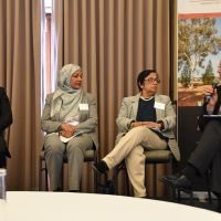 Chair Meredith Lake, Rabbi Shmueli Feldman, Mahjabeen Ahmad,  Professor Kalyani Mehta & Rt Rev Professor Stephen Pickard at the Interfaith Panel  discussion on the conference theme 'Changing Cultures of Ageing and Spirituality'. Photograph by Sarah Stitt