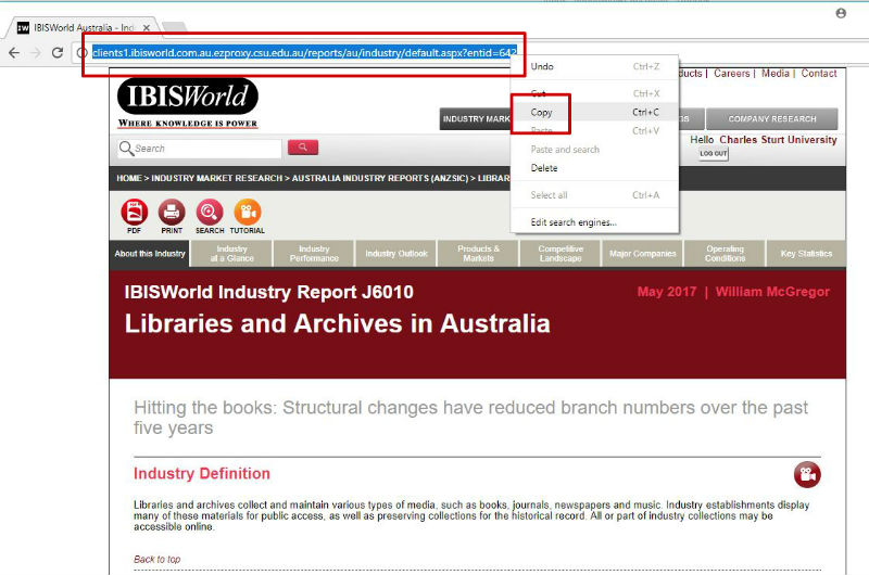screen sample of the IBISWorld website with the URL highlighted