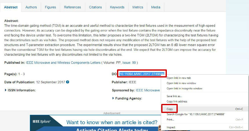 screen sample of the IEEE website with the 'DOI' highlighted