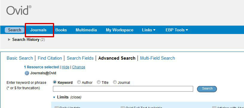 screen sample of the Ovid website with the 'Journals' tab highlighted