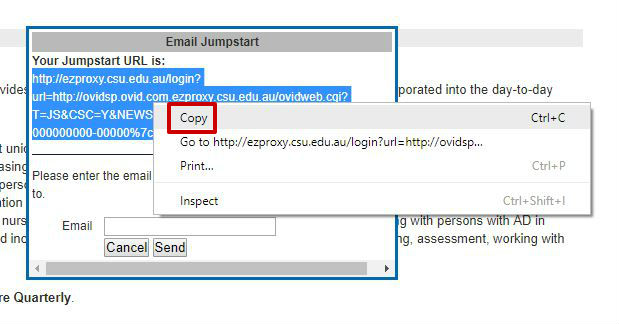 screen sample of the Ovid website with the 'Jumpstart URL' highlighted