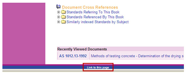 screen sample of the Standards On-Line website with the 'link to this page' link highlighted