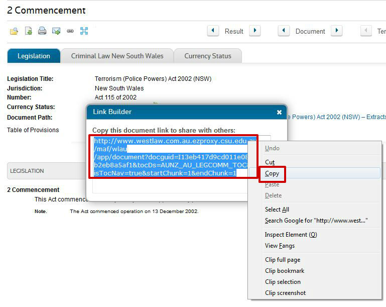 screen sample of the Westlaw website showing the 'Document Link' dialogue box with the link text highlighted