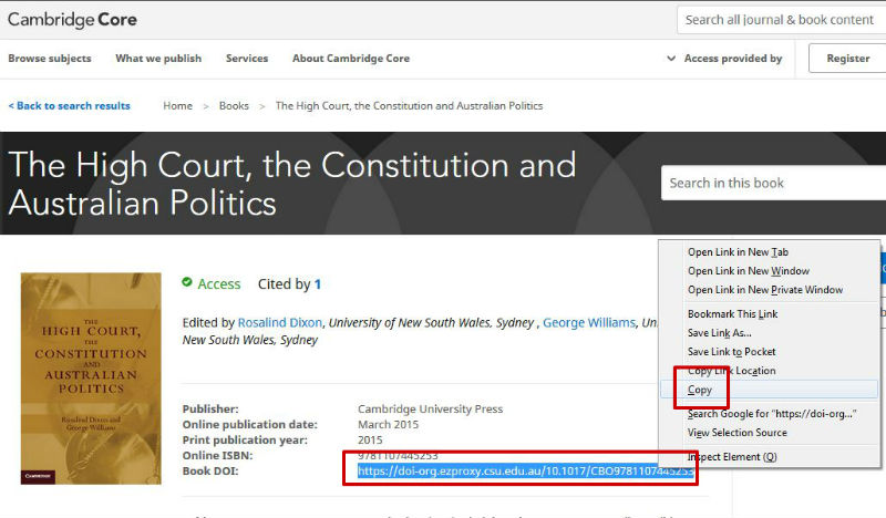 screen sample of the Cambridge website with the 'Book DOI' highlighted