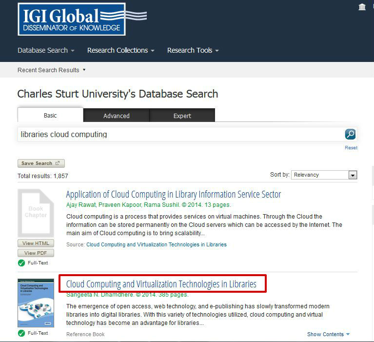 screen sample of the IGI website with the book title highlighted