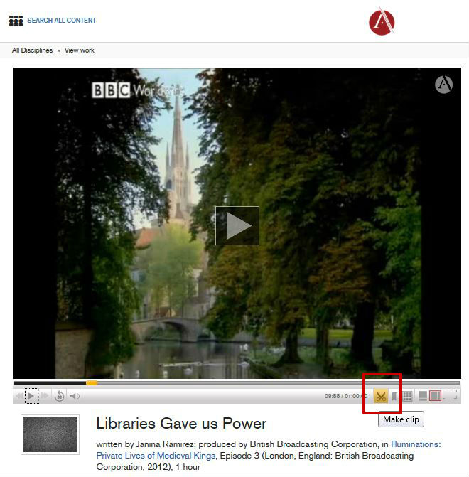 screen sample of the Alexander Street Press Video website with the 'create a clip' icon highlighted