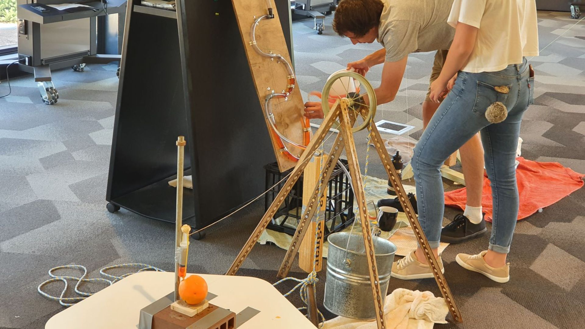 Annual Rube Goldberg Machine ran on time