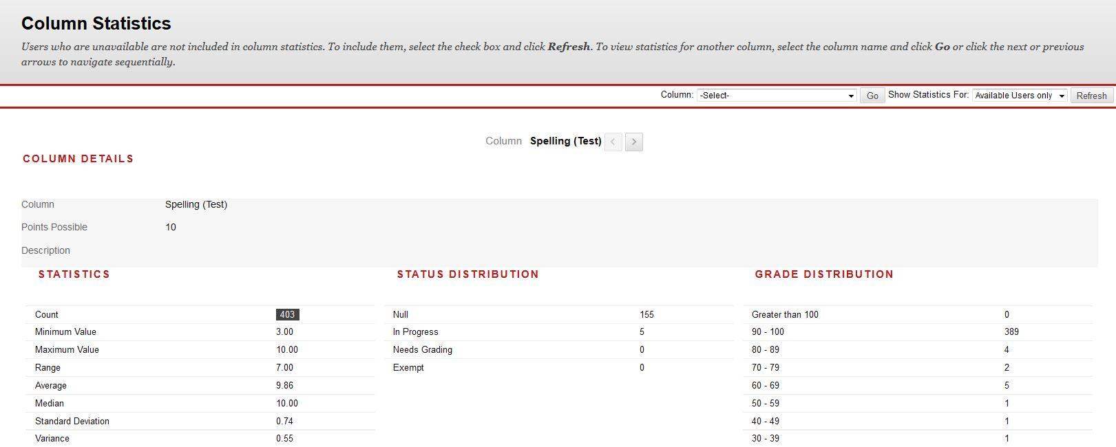 Sample of the Column Statistics screen in Interact2