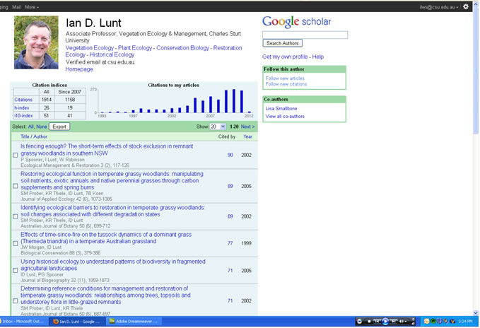 Screen grab of Google Scholar showing citations by a particular scholar