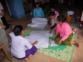 Women farmers develop plans during a cross visit