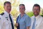 Superintendent Alan Morrison (NSW Ambulance Service), CSU nursing/paramedic student Ms Julie Matchett, and Associate Professor Peter O'Meara, Associate Head of the CSU School of Biomedical Sciences.