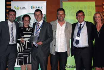 From left: CSU Green's Mr Chris O'Connor, Ms Nicole Maher and Mr Ed Maher, ACTS Advisor Mr Matt Robinson,  Mr Jimmy Brannigan from ESD Consulting, and ACTS President Ms Leanne Denby.