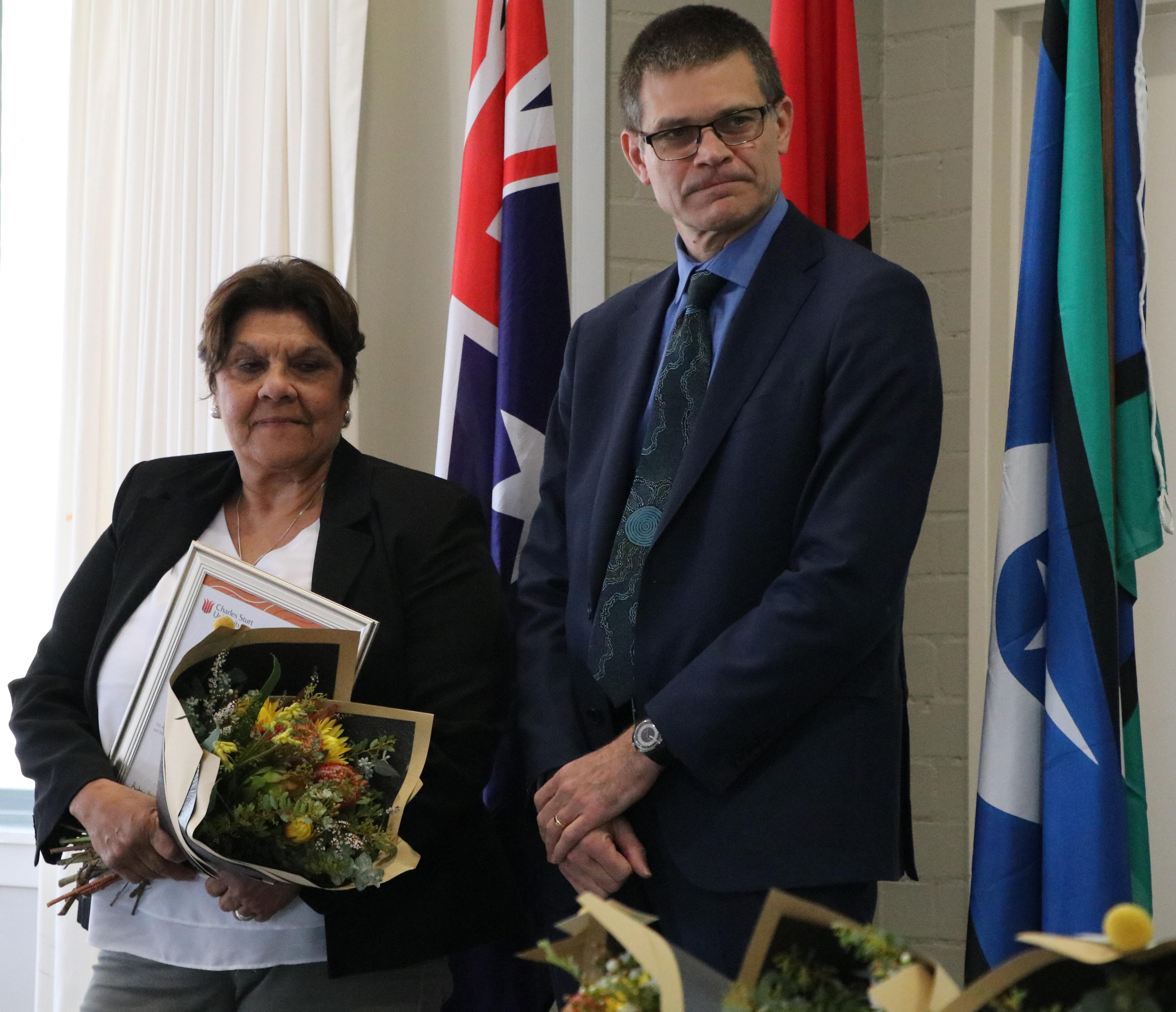 Maureen Bates-Mckay and CSU Vice-Chancellor Professor Andrew Vann