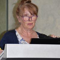 Georgina Hoddle presents a paper. Photograph by Sarah Stitt