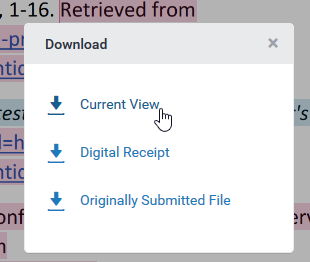 Turnitin export current view