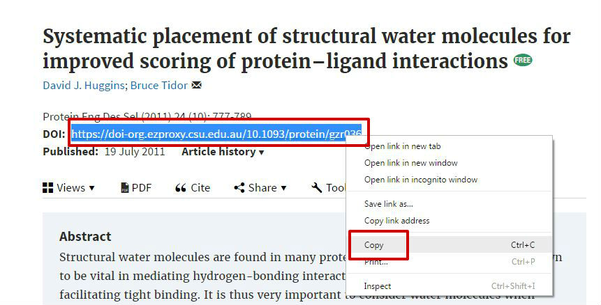 screen sample of the Oxford website with the 'Abstract' link highlighted